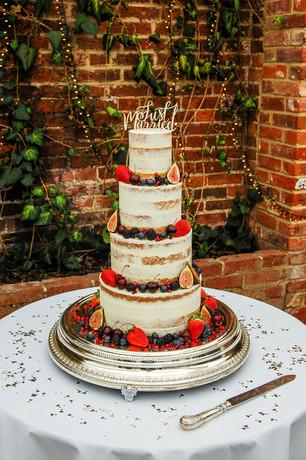 Fruit semi naked wedding cake
