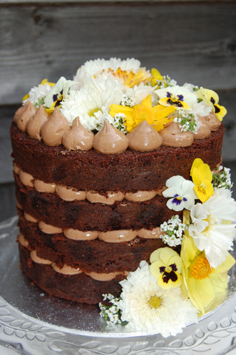 Edible Flowers on Naked Cake