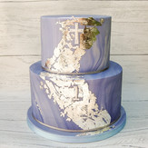 blue marble and silver leaf
