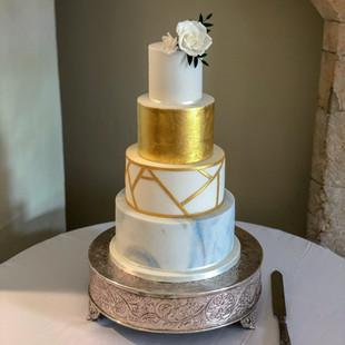 Sugar rose and gold leaf cake Farnham Ca