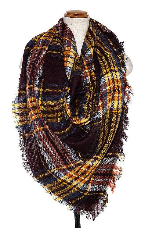 OVERSIZE PLAID FRINGE TRIM SCARF
