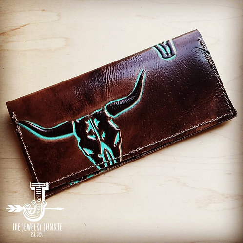 Embossed Leather Wallet-Turquoise Steer