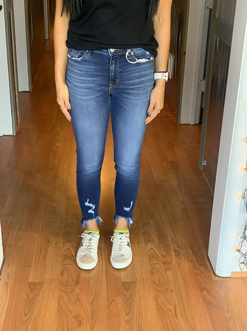 B. High Rise Ankle Skinny Jeans