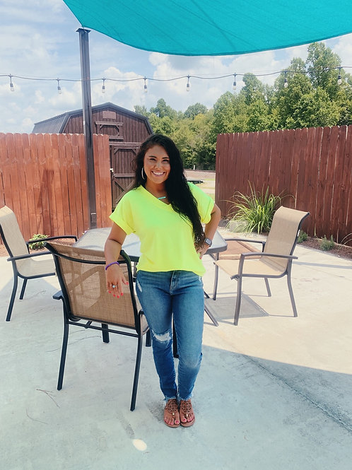 V NECK NEON POCKET TOP WITH CUFFED SLEEVES