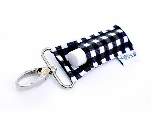Black and White Check LippyClip Lip Balm Holder or Keychain