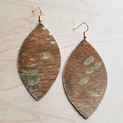 Leather Oval Earrings in Tan and Gold Metallic Hair-on-Hide