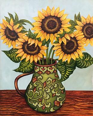 Sunflower Green Vase by Sue Carlin