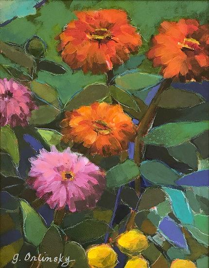 2nd PLACE: Summer Zinnias by Gillian Orlinsky