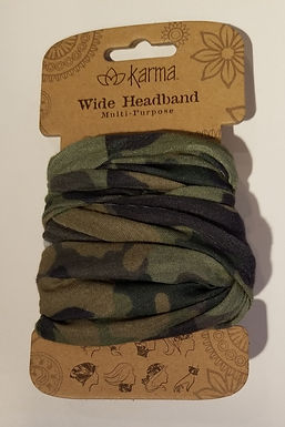 Karma Wide Headband - Green Camo