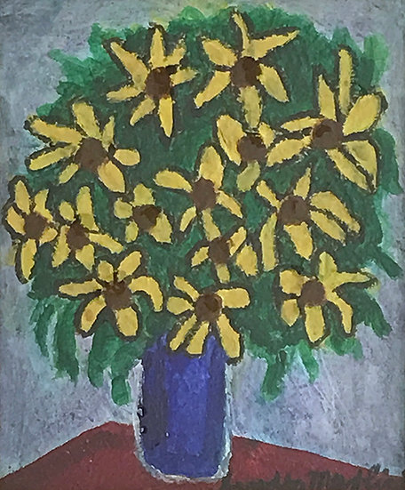 15. Sunflowers in a Blue Vase