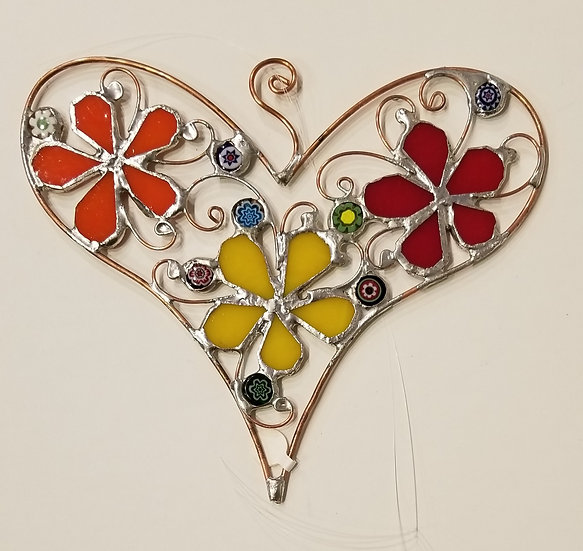 #8 - 7 x 6 Stained Glass Heart by Artesano Gallery