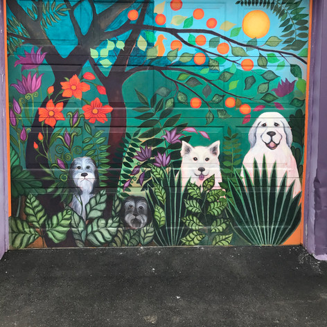 Mural on the garage door of the art school - 2nd entrance to lower level classroom.