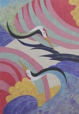 Two Dancing Cranes by Junco Norton