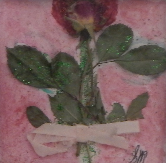 Red Rose with Pink Ribbon by Sandra Merlini
