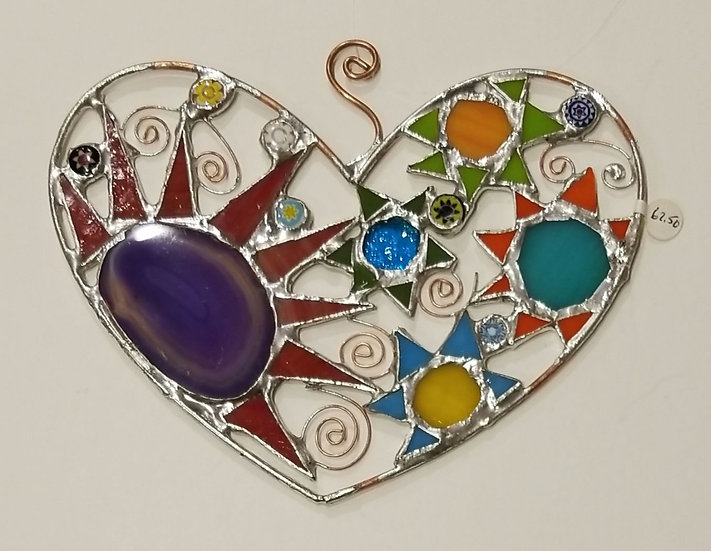 #6 Stained Glass Heart with purple Geode by Artesano