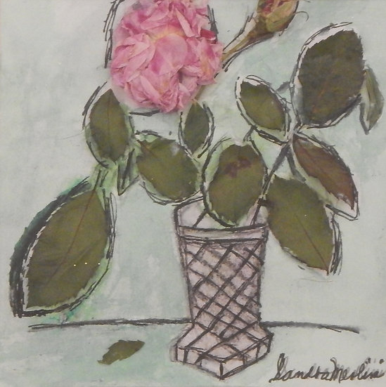 Prink Rose & Bud in a Crystal Vase by Sandra Merlini