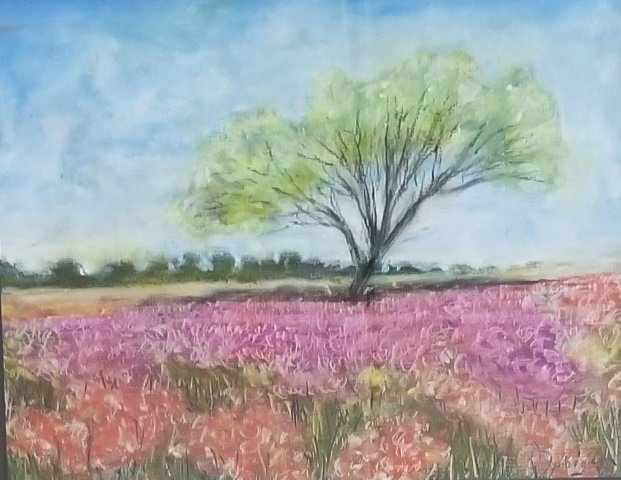 Flower Field with Tree by Iphigenia Burg