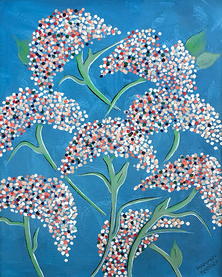Blossoms on Turquoise by Maryann Amodeo