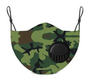 Camo Adult Face Mask With Two Carbon Filters