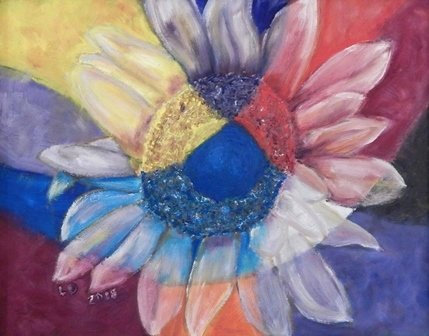 Stained Glass and Sunflower by Lois Denman