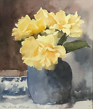 PEOPLE'S CHOICE WINNER: Yellow Roses w/ Blue Vase by Michele Clamp