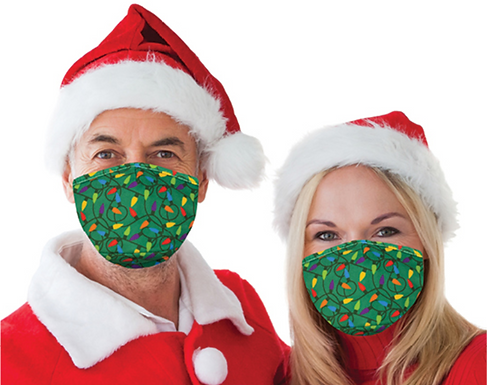 Reusable Face Mask by Snoozies! Christmas Lights