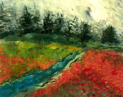 Mist Beyond Terraced Meadow by Jodie Apeseche - Giclee