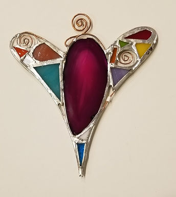#7-4 3/4 x 5 1/2 Stained Glass Heart by Artesano Gallery