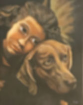 Girl with Dog Painting