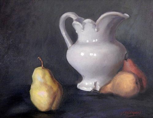 White Jug and Pear by Viju Mewada
