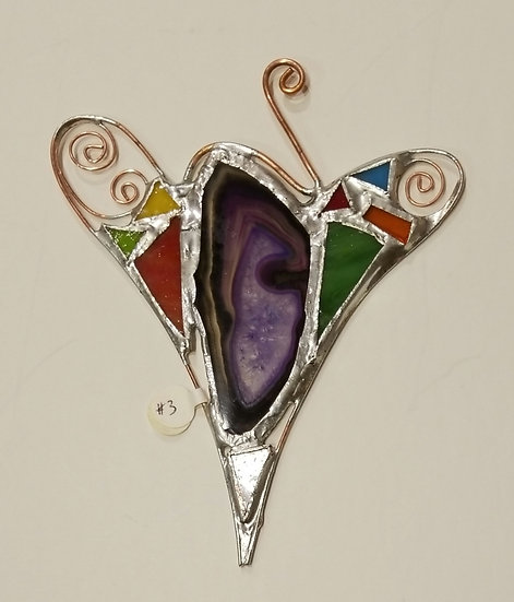 #3-4 1/2x 6Stained Glass Heart by Artesano Gallery