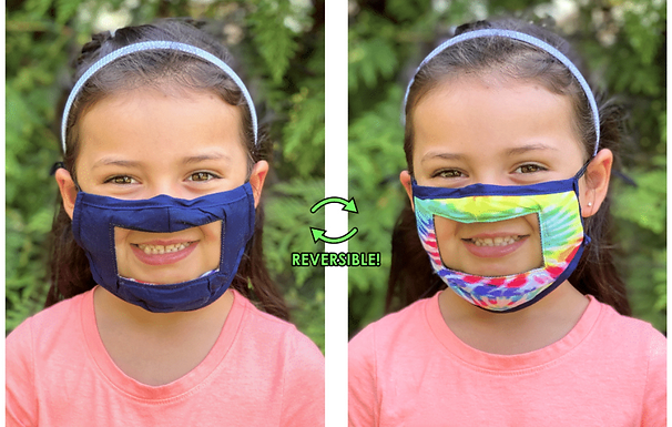 Kids Smile Face Mask, Reversible Navy and Tie Dye
