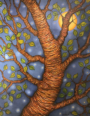 Full Moon Black Birch by Sue Carlin