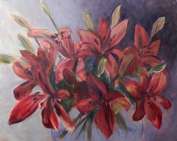 Red Lilies by Terry Kessel Myers Coney