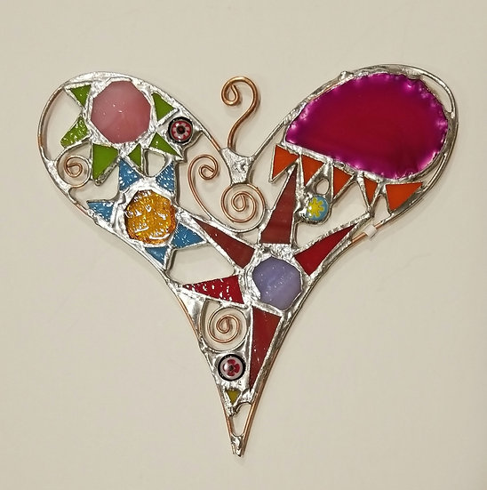 1- 6 1/4 × 6 Stained Glass Heart by Artesano Gallery