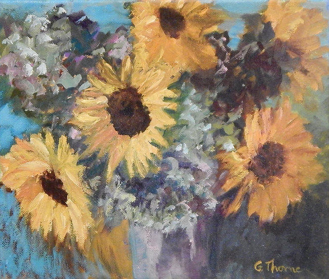 Sunflowers & Hydrangeas by Grace Thorne