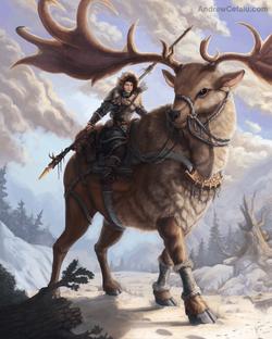 Deer Rider Painting by Andrew Cefalu