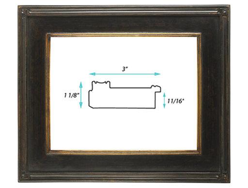 "Gallery Frame #80 -3"" Black w/ Gold"