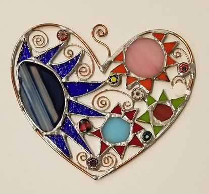 #10- 7 x 6 Stained Glass Heart by Artesano Gallery