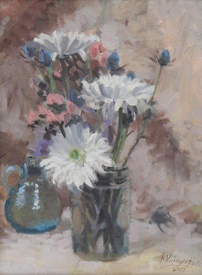 Flowers & Vase by Viju Mewada