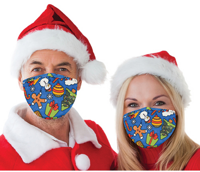 Reusable Face Mask by Snoozies! Christmas themed -Snow