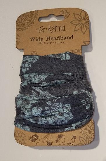 Karma Wide Headband - Blue Floral