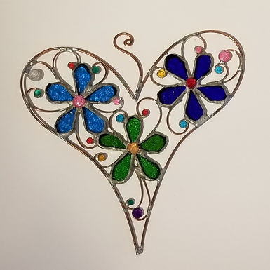 Stained Glass Heart with Flowers by Artesano