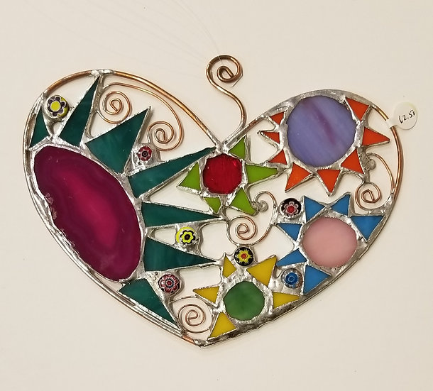 #9- 7 1/2x 6 Stained Glass Heart by Artesano Gallery