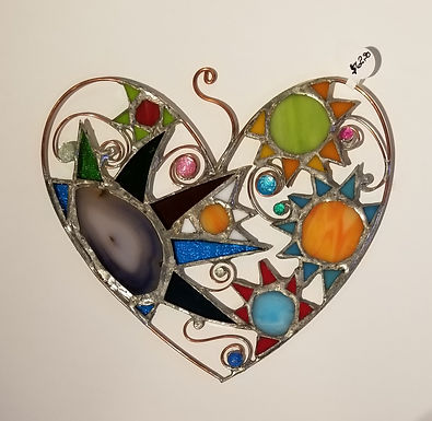 Stained Glass Heart with Grey Violet Geode by Artesano