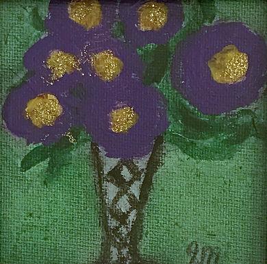 Purple Pansies in a Crystal Vase by Sandra Merlini