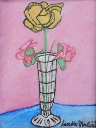 Crystal Vase with Yellow Rose and Pink Begonias by Sandra Merlini