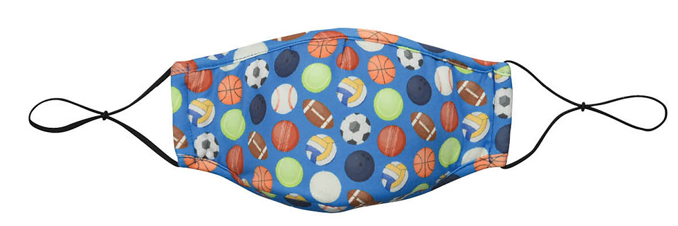 Reusable Kid's Face Mask by Snoozies! Sports Size M/L
