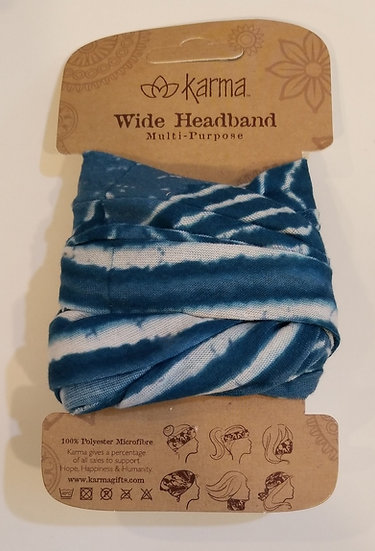 Karma Wide Headband - Blue Batik