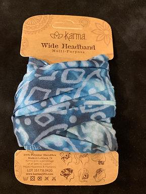 Karma Wide Headband - Indigo Medallion